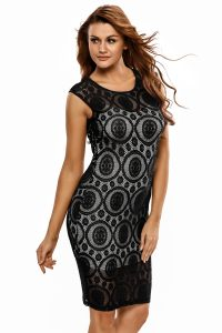 inasari Lace Illusion Midi Dress s2od007-2 -3