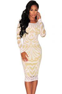 inasari Long Sleeves Lace Illusion Midi Dress s2od008-1 -1