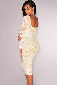 inasari Long Sleeves Lace Illusion Midi Dress s2od008-1 -2