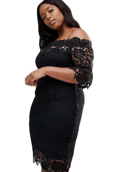 616f08c410c2 inasari woman online store – Off Shoulder Floral Lace Plus Size Dress  S2PSD004-2 -