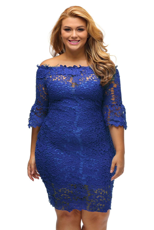 4f4d79c57dbd inasari woman online store – Off Shoulder Floral Lace Plus Size Dress  S2PSD004-5 -