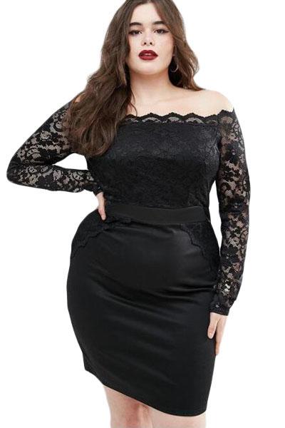 15c874045b6c inasari woman online store – Plus Size Off Shoulder Lace Dress S2PSD0138-2 - 1
