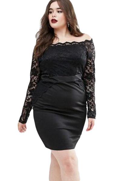 d4dee0985c59 inasari woman online store – Plus Size Off Shoulder Lace Dress S2PSD0138-2  ...