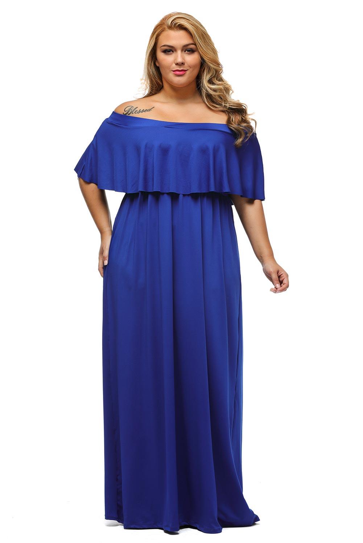 Plus Size Ruffle Off Shoulder Maxi Dress