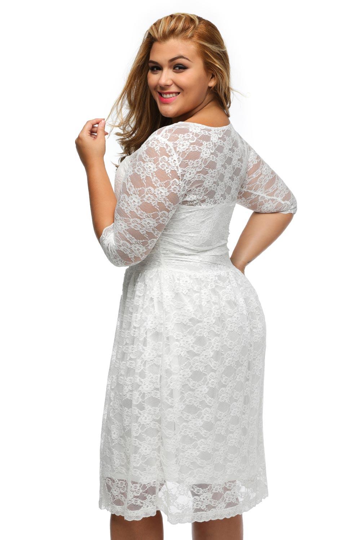 Plus Size Three Quarter Sleeves Lace Dress – inasari
