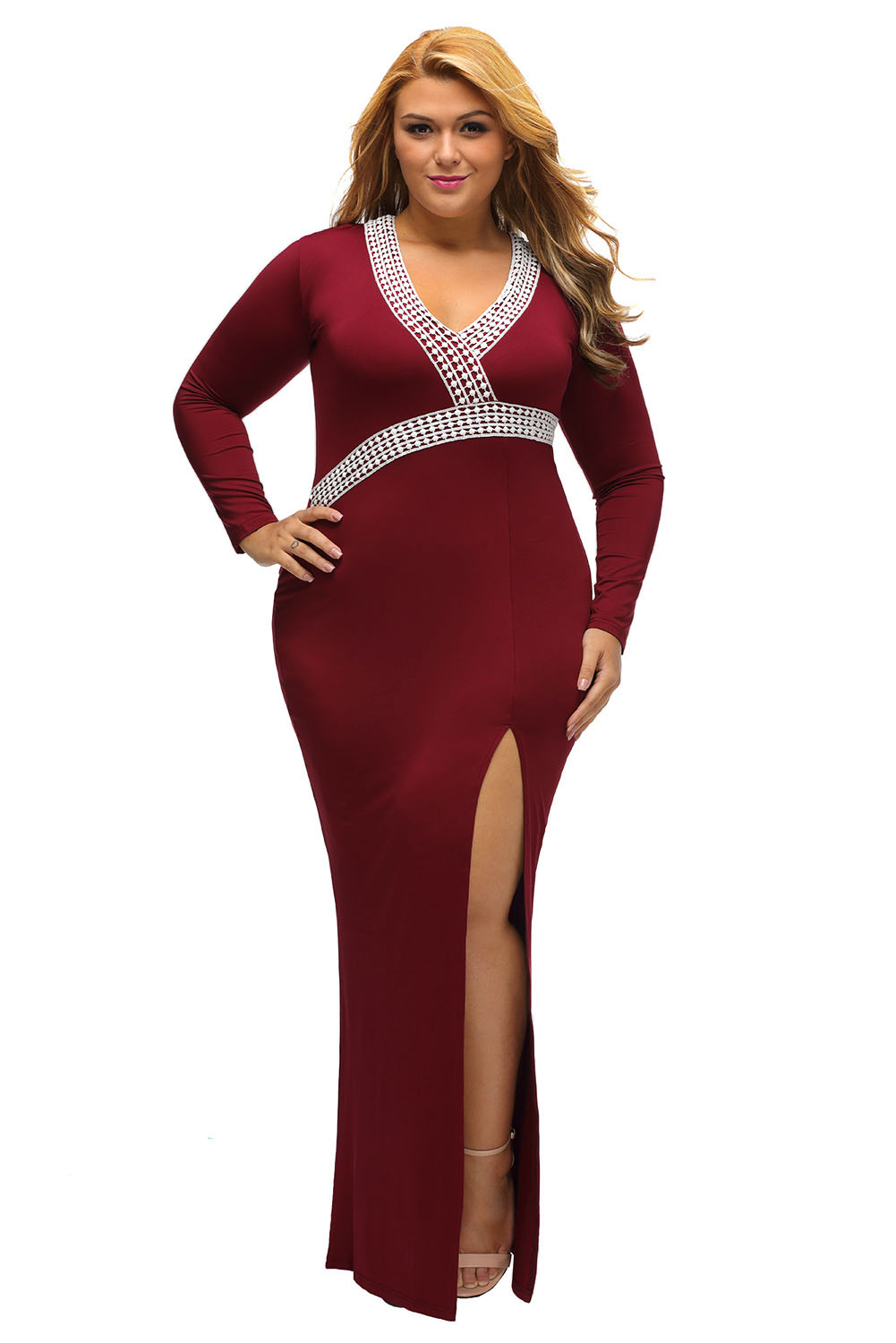 763b0f84a03a inasari woman online store – Plus Size V Neck High Slit Long Dress  S2PSD015-3